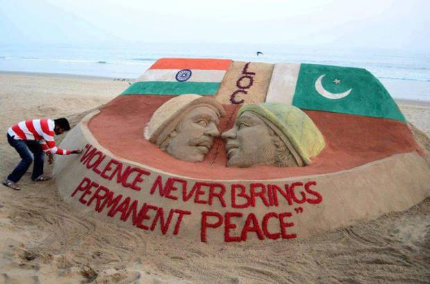 - A sand sculpture on the Indo-Pak issue with a message Violence Never Brings Permanent Peace at Puri beach by Sudarsan Pattnaik, an Indian Sand artist.