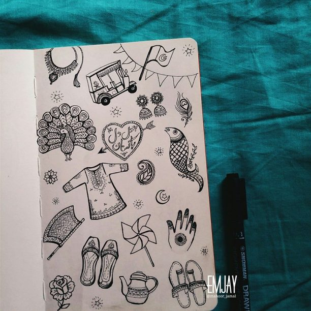 Desi thingz. Doodle drawn by Emjay.